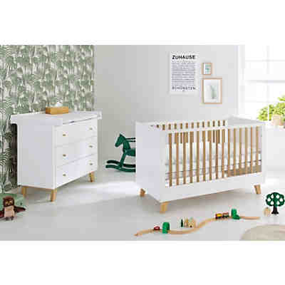 Komplett Kinderzimmer PINO, (Kinderbett, Wickelkommode und Kleiderschrank  2-trg.), Kiefer weiß lasiert, Pinolino