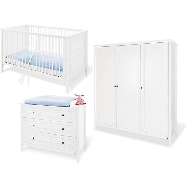 Komplett Kinderzimmer Smilla 3 Tlg Kinderbett Wickelkommode Und 3 Turiger Kleiderschrank Kiefer Massiv Weiss Lasiert Pinolino