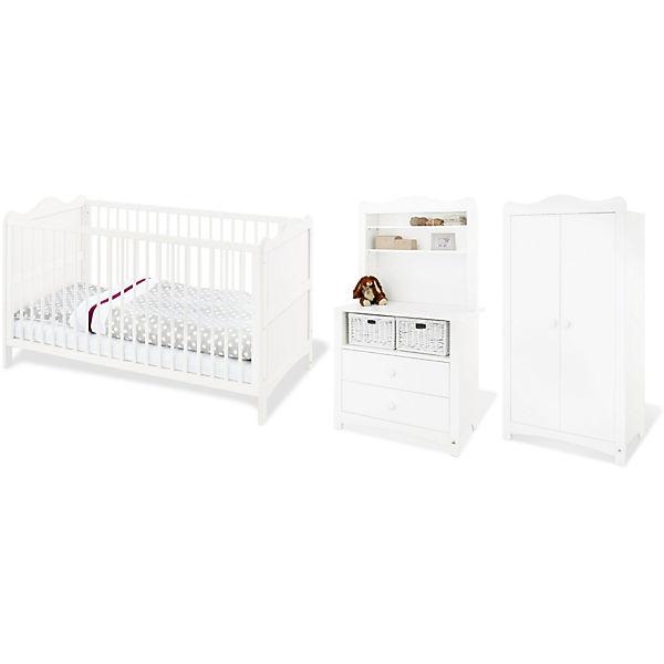 Komplett Kinderzimmer FLORENTINA, 4-tlg. (Kinderbett, Wickelkommode inkl.  Regalaufsatz und 2-türiger Kleiderschrank), weiß, Pinolino