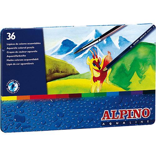 Цветные шестигранные акварельные карандаши AQUALINE, 36 цв. от ALPINO