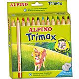Цветные утолщенные трехгранные карандаши Trimax, 12 цв. + специальная точилка