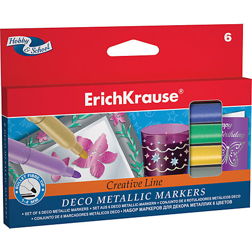 Фломастеры ArtBerry Metallic easy washable, 6 цветов от Erich Krause