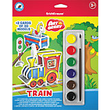 3D пазл для раскрашивания Erich Krause ArtBerry Train акварель 6 цветов и 2 карты с фигурами для сборки