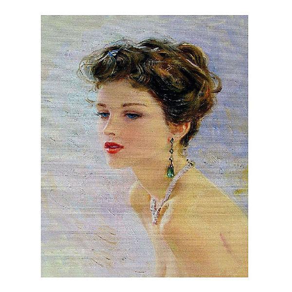"""Картина по номерам """"К. Разумов: Девушка с изумрудными серьгами"""", 40*50 см"""
