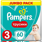 Трусики Pampers Pants, 6-11кг, размер 3, 60 шт., Pampers