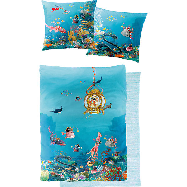 bettw sche capt 39 n sharky tiefsee 135x200 80x80 cm capt n sharky mytoys. Black Bedroom Furniture Sets. Home Design Ideas