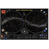 """Настенная карта """"Звездное небо, планеты"""" 124*80 см, ламинированная"""