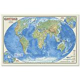 """Настольная карта """"Мир Физический"""" М1:55 млн, 58*38 см, ламинированная"""