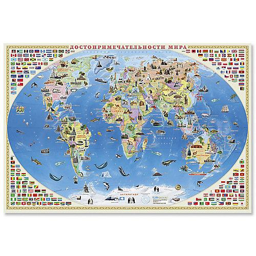 """Настенная карта """"Достопримечательности мира"""" 101*69 см, ламинированная от ГеоДом"""