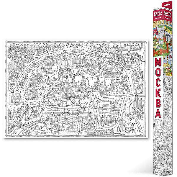 """Карта-Раскраска """"Москва"""" 101*69 см"""