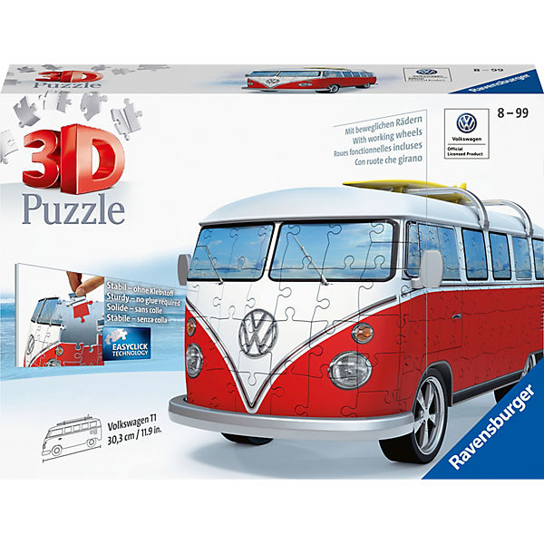 3D-Puzzle VW Bus T1, 30x14x15 cm, 162 Teile, Surfer Edition