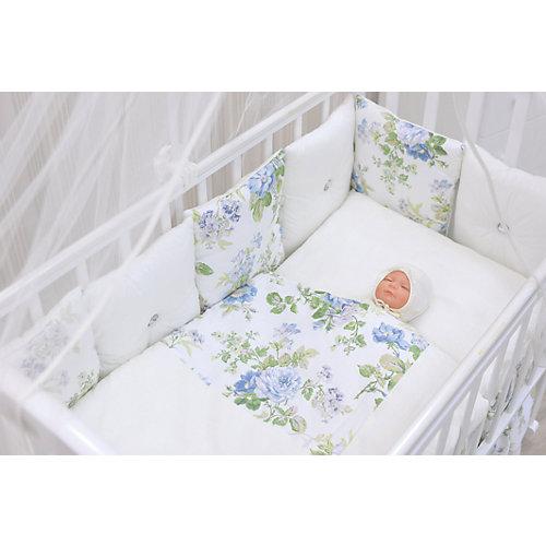 Комплект в кроватку GulSara 8 предметов, белый с цветочным принтом