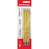 Набор чёрнографитных шестигранных карандашей с ластиком Erich Krause Amber 101 HB, 4 шт