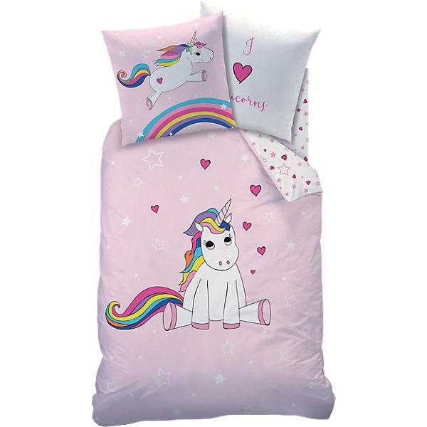 Wende Kinderbettwäsche Einhorn Rainbow Renforcé 135 X 200 Cm Cti