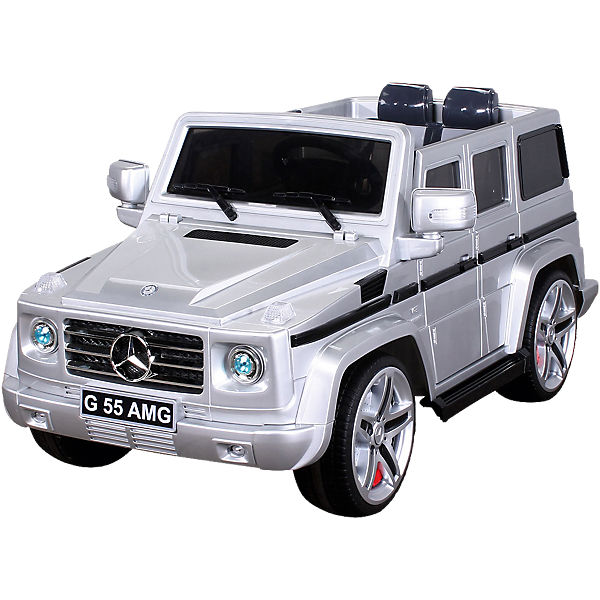 kinder elektroauto mercedes g55 amg lizenziert silber. Black Bedroom Furniture Sets. Home Design Ideas