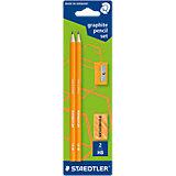 Карандаши чернографитовые WOPEX, HB, оранжевый неон, 2 шт. + точилка + ластик, Staedtler