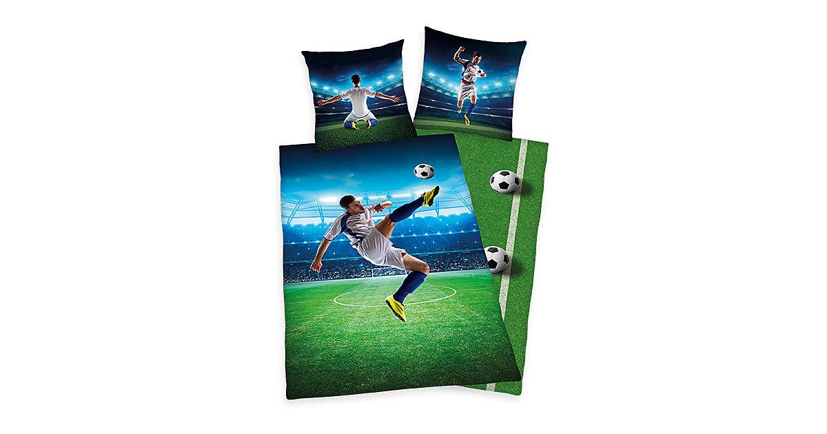 Wende- Kinderbettwäsche, Fußball, Renforcé, 135 x 200 cm