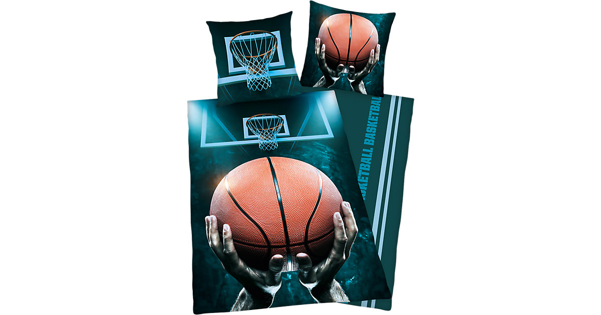 Wende- Kinderbettwäsche, Basketball, Renforcé, 135 x 200 cm