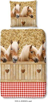 Pferde /& Herzen Renforcé Kinderbettwäsche 135 x 200 cm Neu Pferdebettwäsche