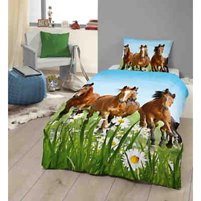 Pferdebettwäsche Kinderbettwäsche Pferd Mit Fohlen Linon 135 X