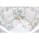 Комплект в круглую кроватку 6 предметов GulSara, Цветы, белый