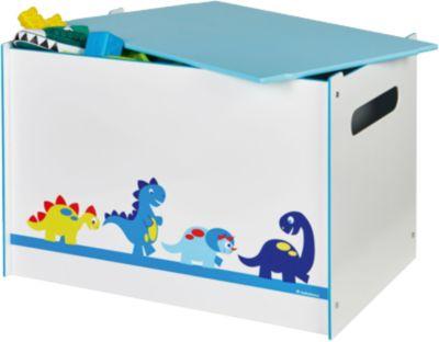 Spielzeug Truhe, Dinosaurier hellblau/weiß