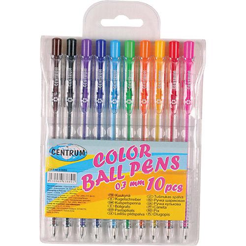 Набор 10 цветных шариковых ручек 0,7 мм от CENTRUM