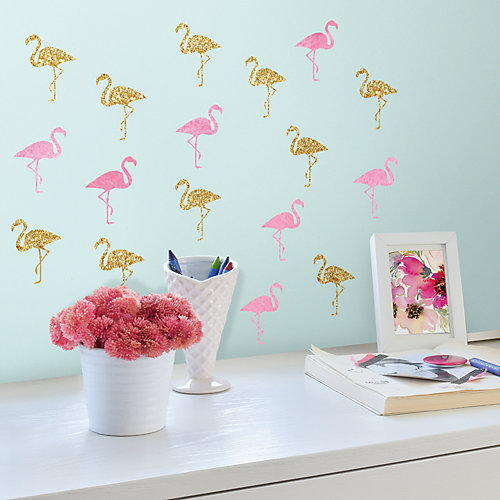 RoomMates Wandsticker Flamingos, 40-tlg, goldfarbig Sale Angebote Werben