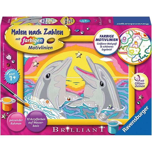 Malen Nach Zahlen 13x18 Cm Mit Farbigen Motivlinien Glitzersteine Delfin Glück Ravensburger