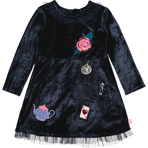 Kinder Samtkleid mit Tüllrock und Patches Gr. 98 Mädchen Kleinkinder   03143166142768