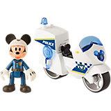 """Disney Игровой набор """"Микки и весёлые гонки: Полицейский байк"""" (8 см, фиг. 8 см, свет, звук, аксесс.)"""