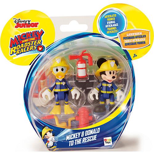 """Disney Набор фигурок """"Микки и весёлые гонки: Пожарные"""" (Микки и Дональд, 8 см, аксесс.) от IMC Toys"""