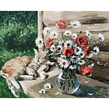 Живопись на холсте Белоснежка Дачная жизнь кота Василия, 40х50 см