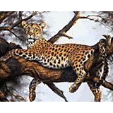 """Живопись на холсте """"Леопард на отдыхе"""", 40*50 см"""