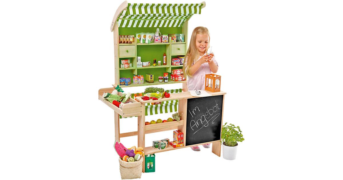 großer Biomarkt aus Holz mit 40 Miniaturverpackungen, Kaufladen