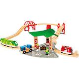 Железная дорога BRIO с автовокзалом, 2 мостами, 25 деталей