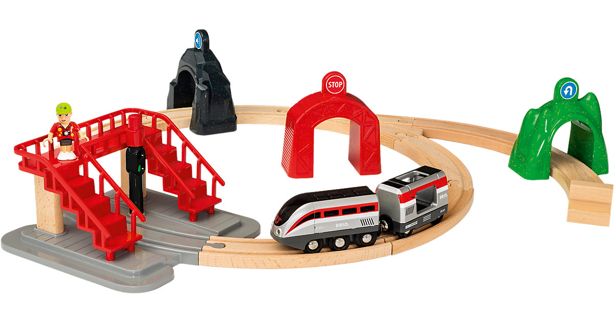 Brio · Großes Smart Tech Reisezug Set mit Action Tunnels