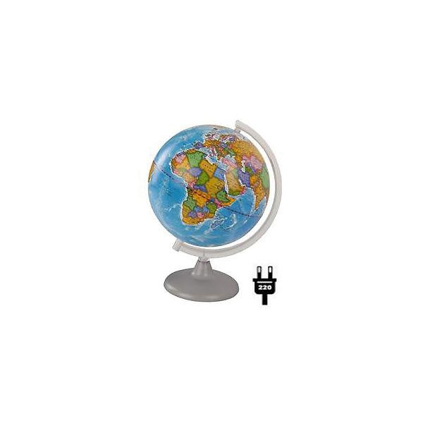 Глобус Земли политический с подсветкой, диаметр 210 мм