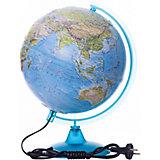 Глобус Земли «Двойная карта» рельефный с подсветкой, диаметр 250 мм