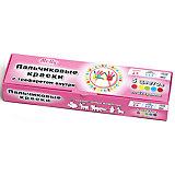 """Пальчиковые краски + трафарет """"Дикие животные"""",  5 цветов"""