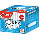 Мел WHITE'PEPS белый, для детей, 100шт., MAPED