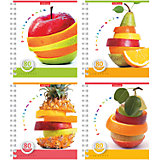 "Тетрадь на спирали, 80 листов ""Fruitomania"", УФ-лак, упаковка из 4 шт., клетка"