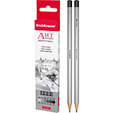 Чернографитный карандаш ART-STUDIO (2H,H,HB,B,2B,4B) шестигранный, 6 шт., Erich Krause