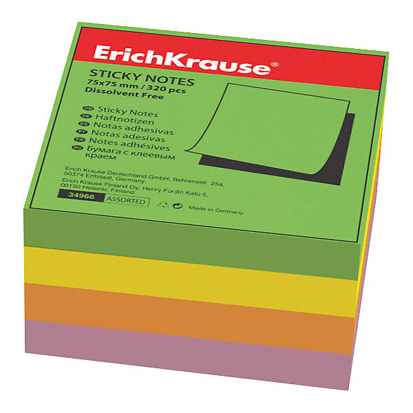 "Блок бумаги с клеевым краем  ""Тропик"", 75х75мм., Erich Krause"