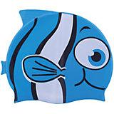 """Шапочка для плавания силиконовая """"Рыбка"""", синяя, Dobest"""