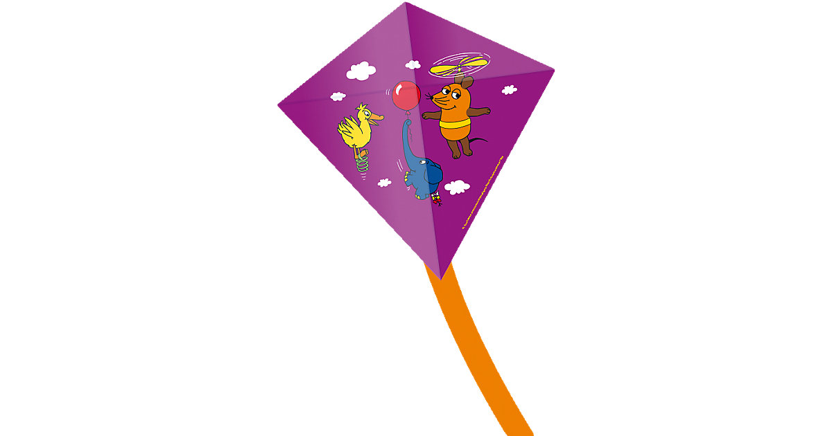 "Kinderdrachen ""Mini Eddy""  - Maus, Elefant & Ente, lila"