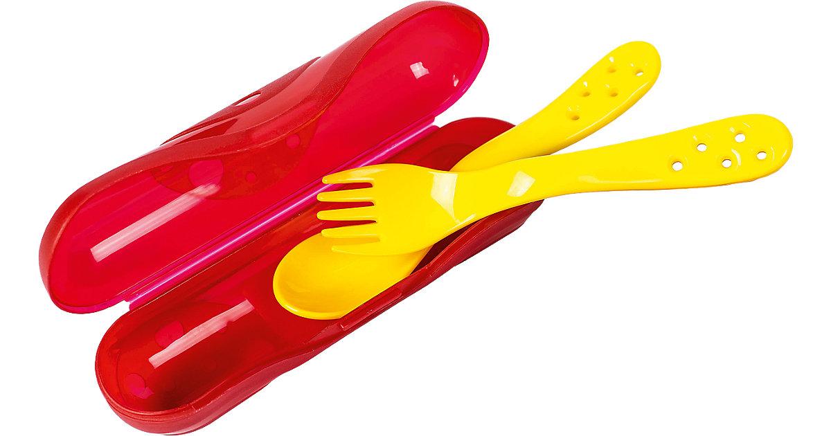 Besteckbox mit Gabel und Löffel, gelb/rot