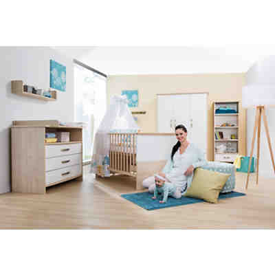 sparset honey 2 tlg kombi kinderbett 70x140 cm umbauseiten und wickelkommode mit. Black Bedroom Furniture Sets. Home Design Ideas