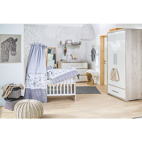 komplett kinderzimmer mick 3 tlg kombi kinderbett 70x140 umbauseiten wickelkommode mit. Black Bedroom Furniture Sets. Home Design Ideas