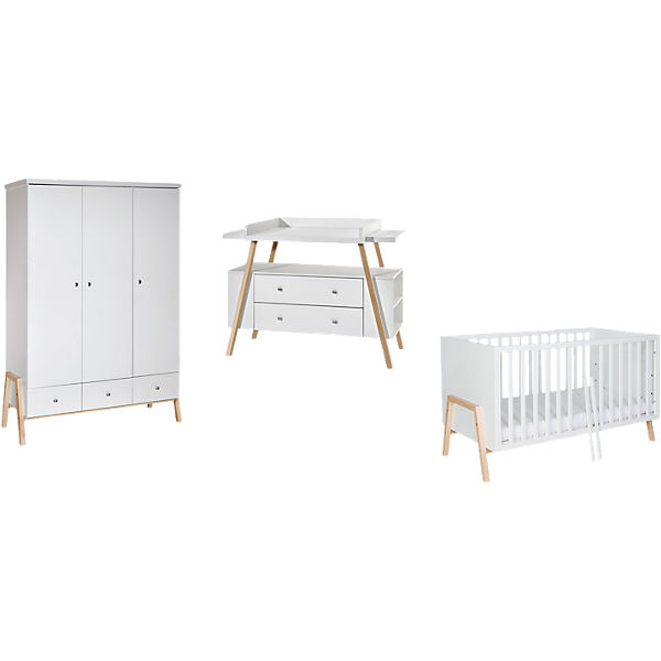 komplett kinderzimmer holly nature 3 tlg kombi kinderbett 70x140 umbauseiten wickelkommode. Black Bedroom Furniture Sets. Home Design Ideas